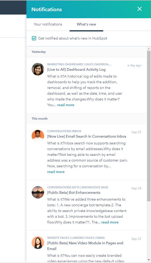 HubSpot Updates Notifications
