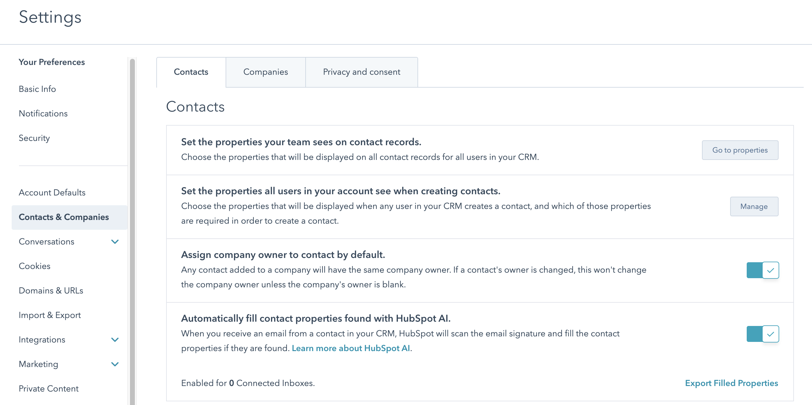 hubspot settings contacts